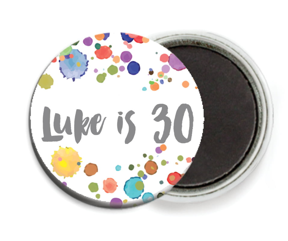 custom button magnets - charcoal - watercolor droplets (set of 6)