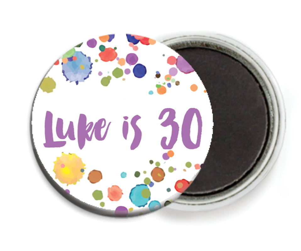 custom button magnets - purple - watercolor droplets (set of 6)