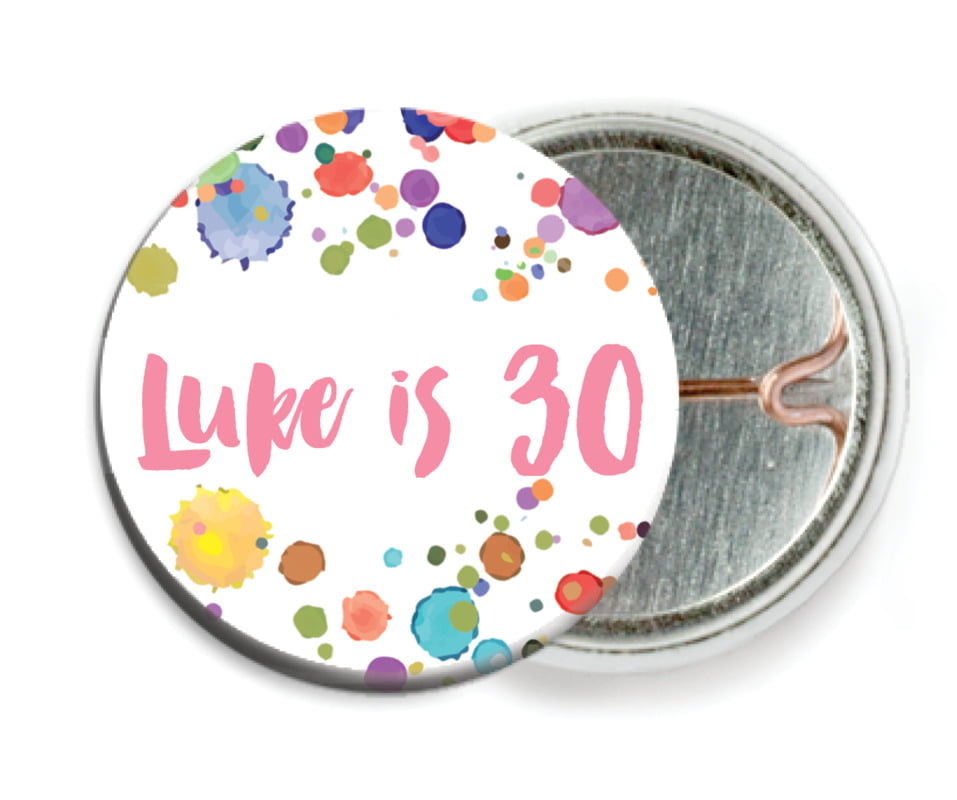 custom pin back buttons - pink - watercolor droplets (set of 6)