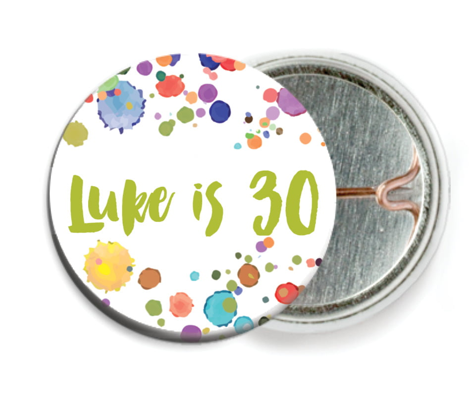 custom pin back buttons - lime - watercolor droplets (set of 6)