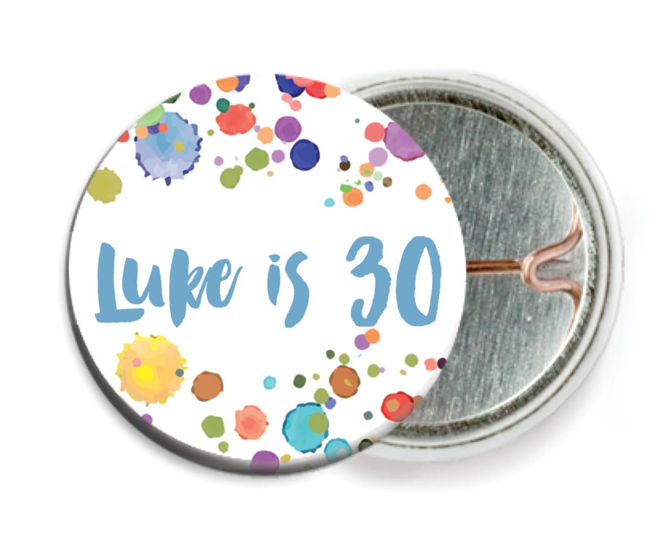 custom pin back buttons - blue - watercolor droplets (set of 6)