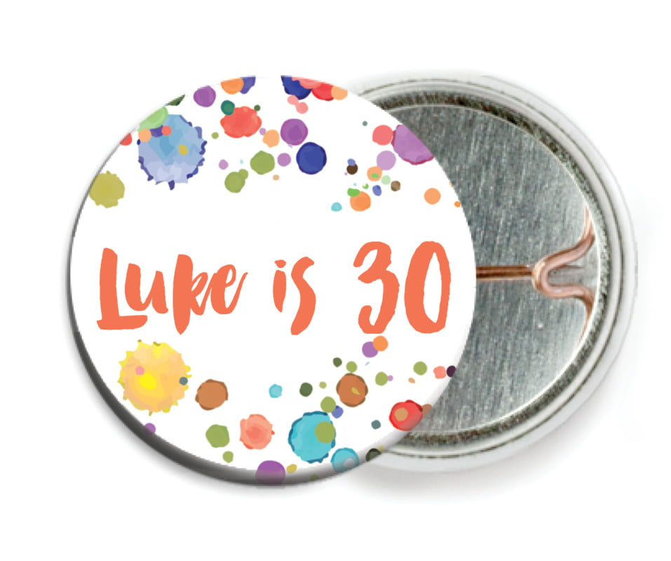 custom pin back buttons - deep coral - watercolor droplets (set of 6)