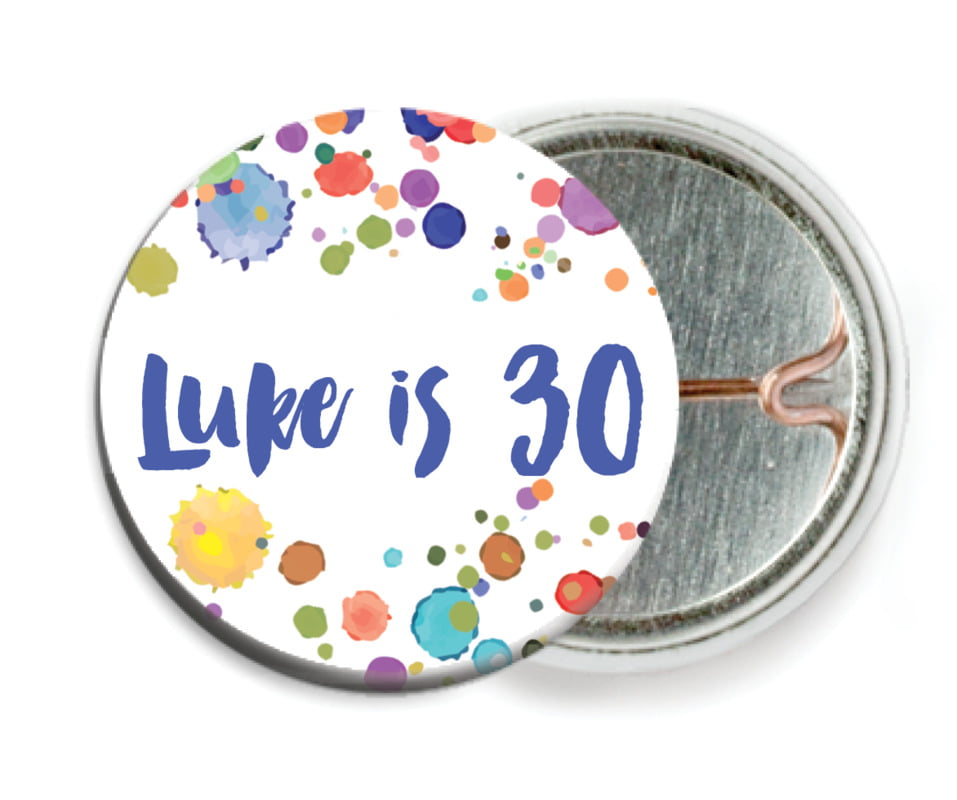 custom pin back buttons - deep blue - watercolor droplets (set of 6)