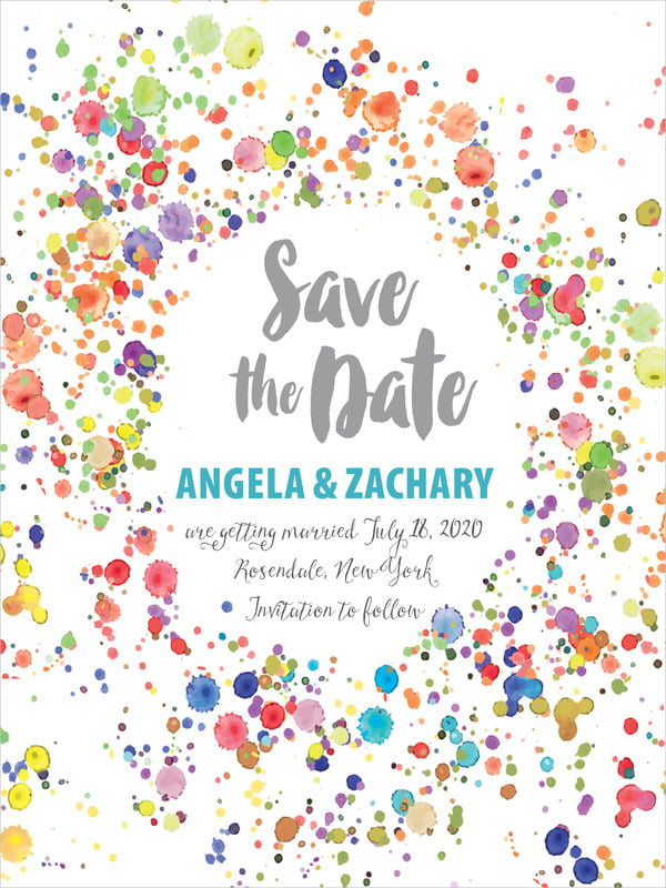 custom tall save the date cards - turquoise - watercolor droplets (set of 10)