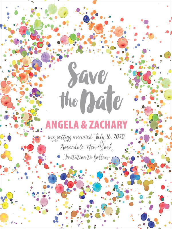 custom tall save the date cards - pink - watercolor droplets (set of 10)