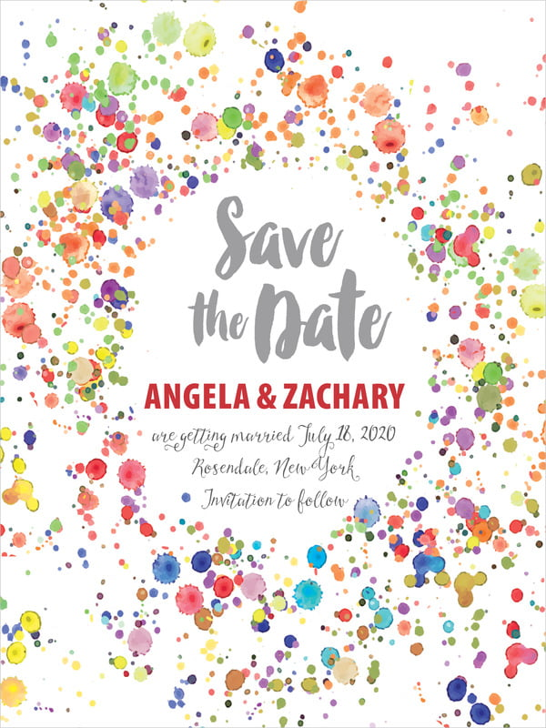 custom tall save the date cards - deep red - watercolor droplets (set of 10)