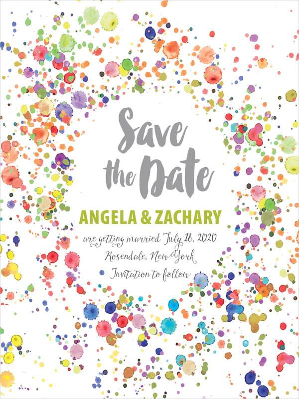 custom tall save the date cards - lime - watercolor droplets (set of 10)