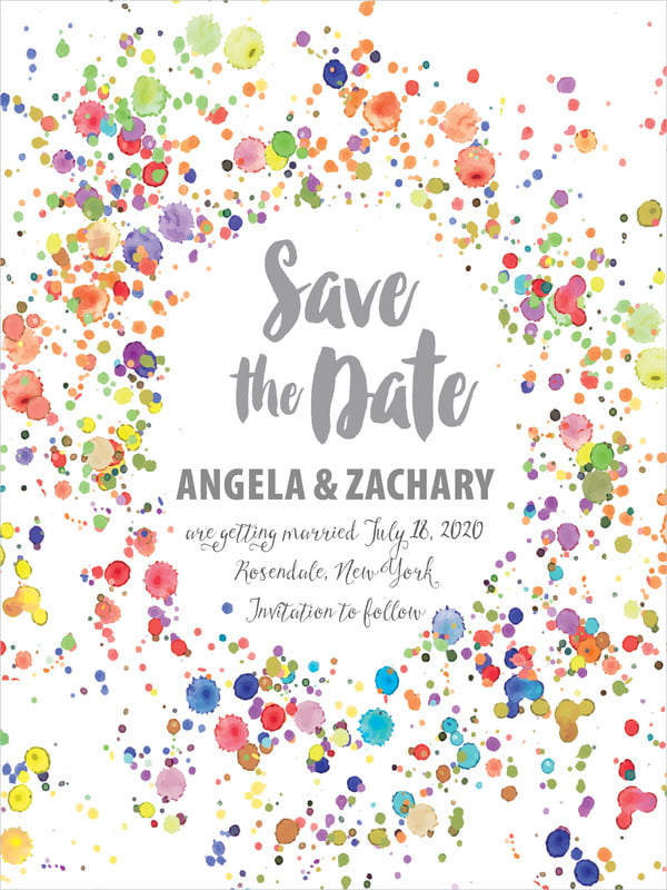 custom tall save the date cards - charcoal - watercolor droplets (set of 10)