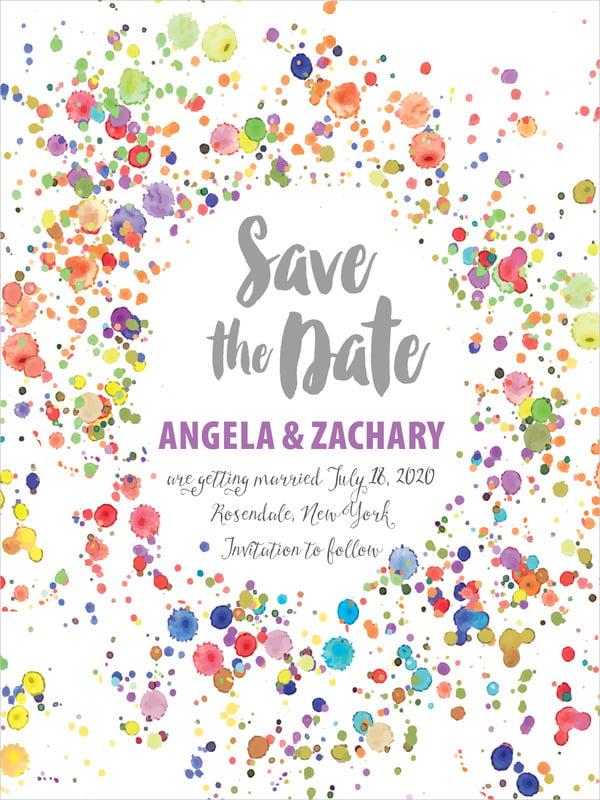 custom tall save the date cards - purple - watercolor droplets (set of 10)