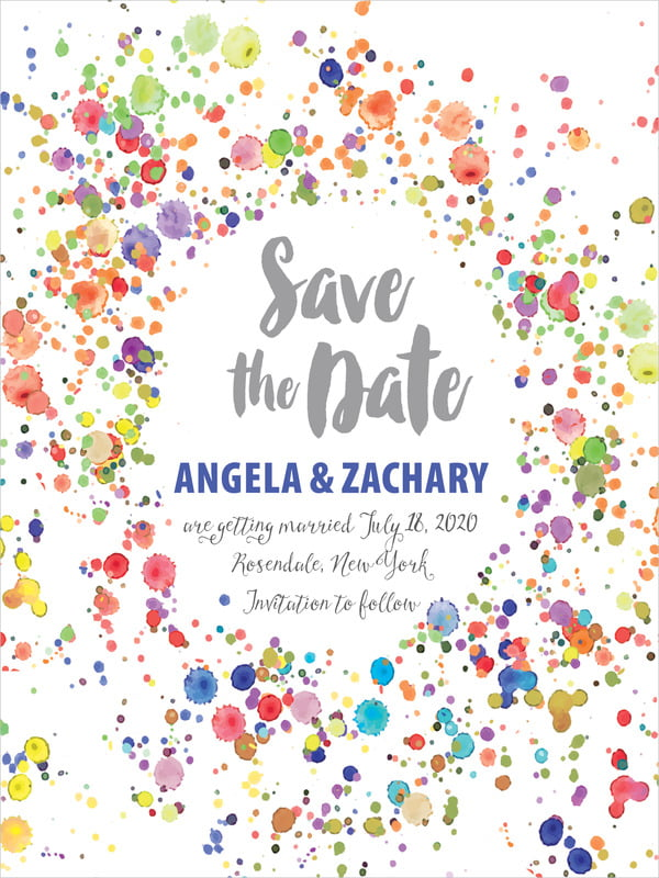 custom tall save the date cards - deep blue - watercolor droplets (set of 10)