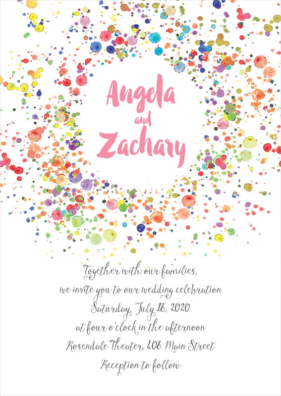 custom invitations - pink - watercolor droplets (set of 10)
