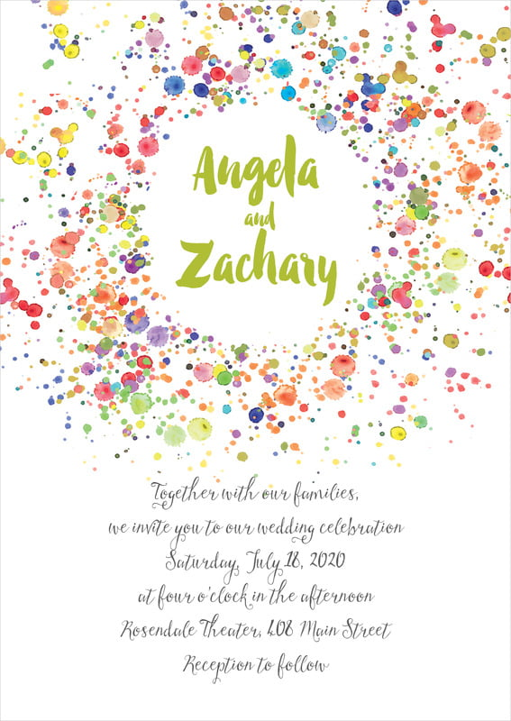 custom invitations - lime - watercolor droplets (set of 10)