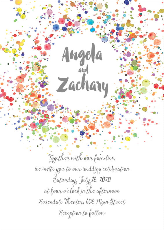 custom invitations - charcoal - watercolor droplets (set of 10)