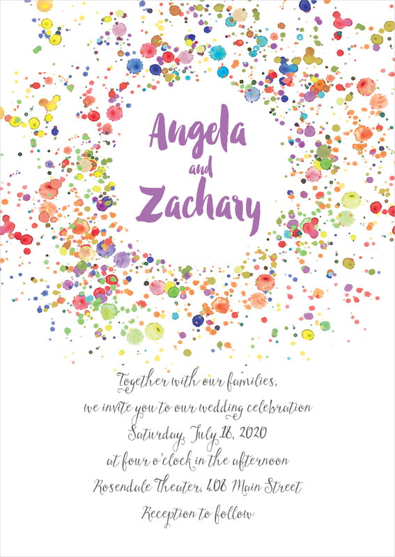 custom invitations - purple - watercolor droplets (set of 10)