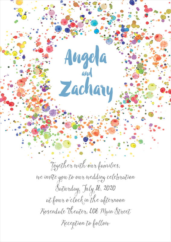 custom invitations - blue - watercolor droplets (set of 10)