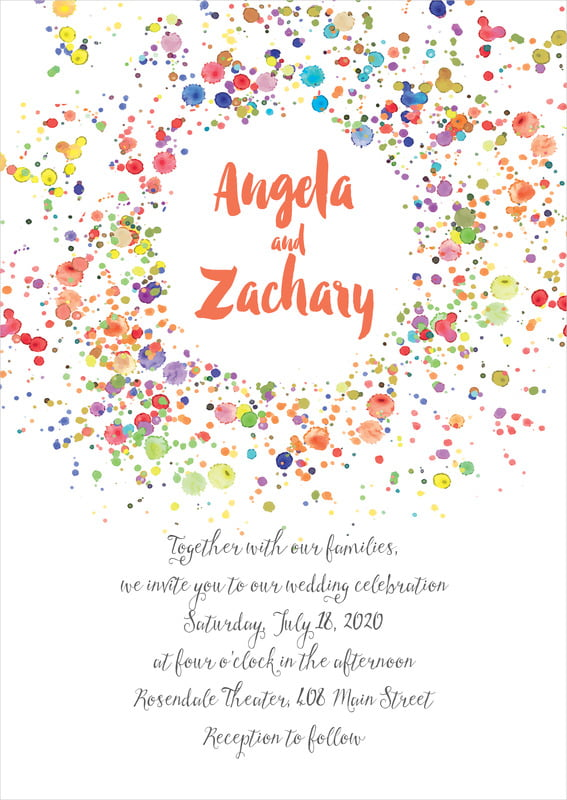 custom invitations - deep coral - watercolor droplets (set of 10)