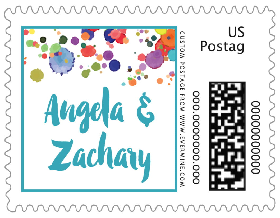 small custom postage stamps - turquoise - watercolor droplets (set of 20)