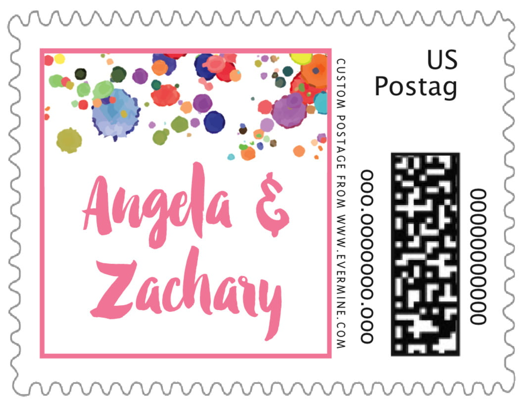small custom postage stamps - pink - watercolor droplets (set of 20)