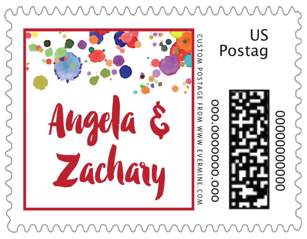 small custom postage stamps - deep red - watercolor droplets (set of 20)