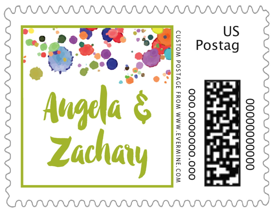 small custom postage stamps - lime - watercolor droplets (set of 20)