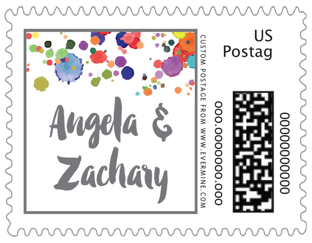 small custom postage stamps - charcoal - watercolor droplets (set of 20)