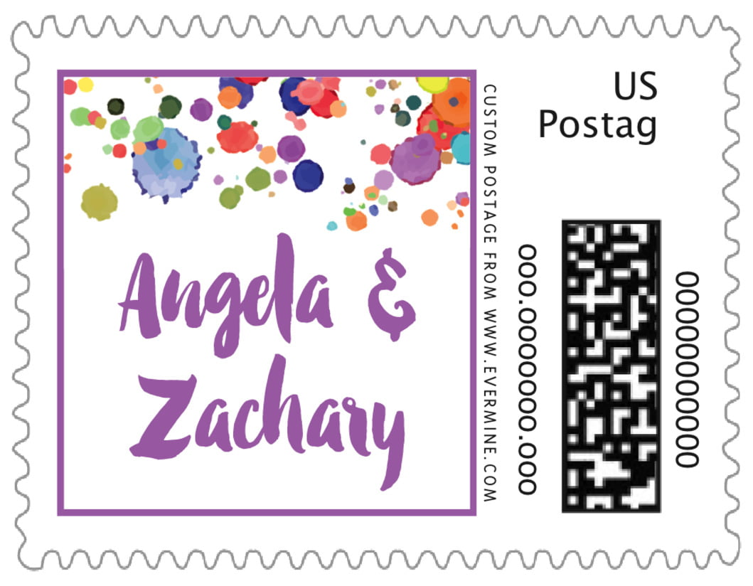 small custom postage stamps - purple - watercolor droplets (set of 20)
