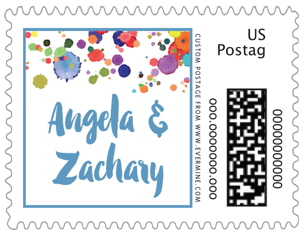 small custom postage stamps - blue - watercolor droplets (set of 20)