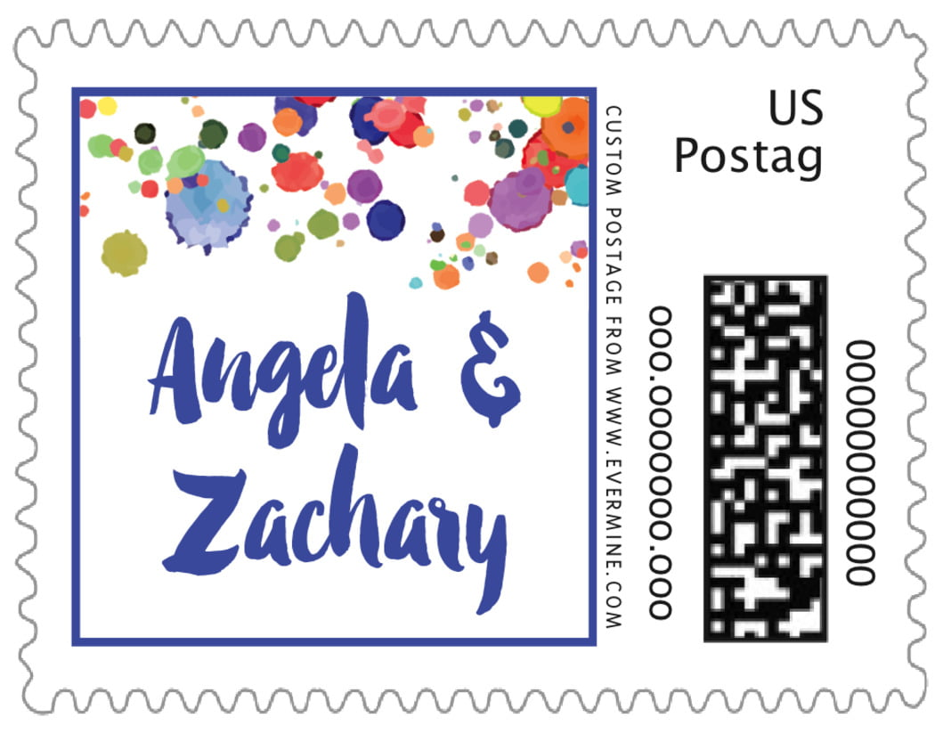 small custom postage stamps - deep blue - watercolor droplets (set of 20)