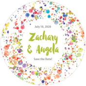 Watercolor Droplets Round Coaster In Lime