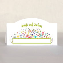 Watercolor Droplets Place Card In Lime