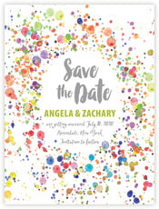 Watercolor Droplets Save The Date Card In Lime