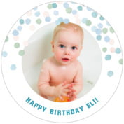Watercolor Confetti baby birthday coasters