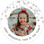 Watercolor Confetti Round Coaster In Stone
