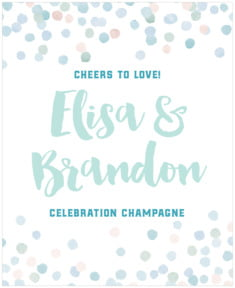 Watercolor Confetti wedding wine labels