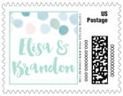 Watercolor Confetti wedding postage stamps