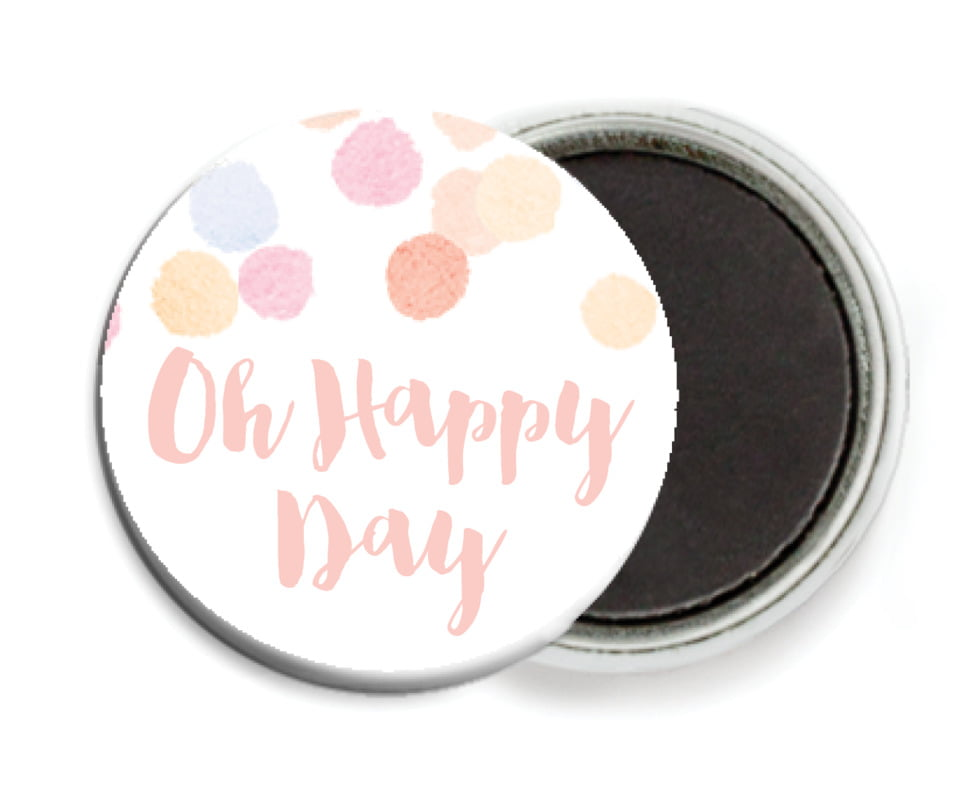 custom button magnets - peach - watercolor confetti (set of 6)
