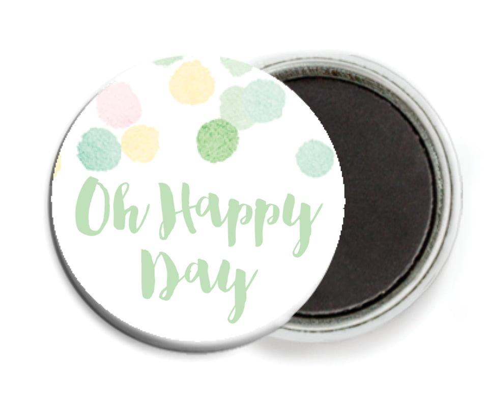 custom button magnets - mint - watercolor confetti (set of 6)