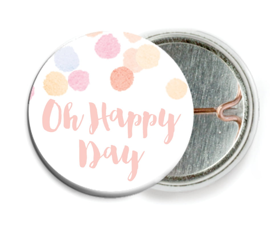 custom pin back buttons - peach - watercolor confetti (set of 6)