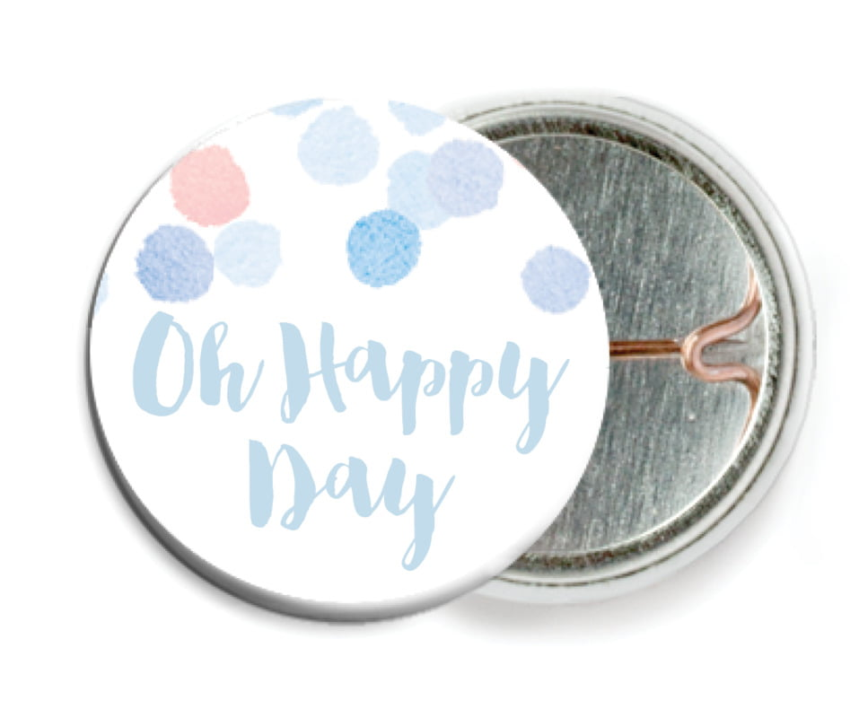 custom pin back buttons - rose quartz/serenity - watercolor confetti (set of 6)