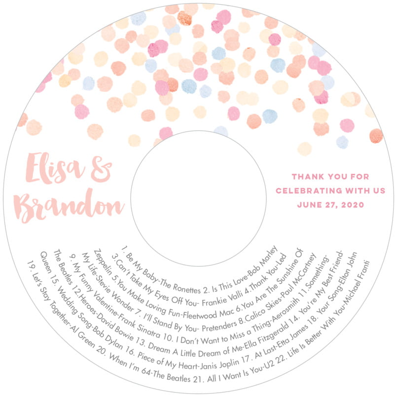 wedding cd/dvd labels - peach - watercolor confetti (set of 12)