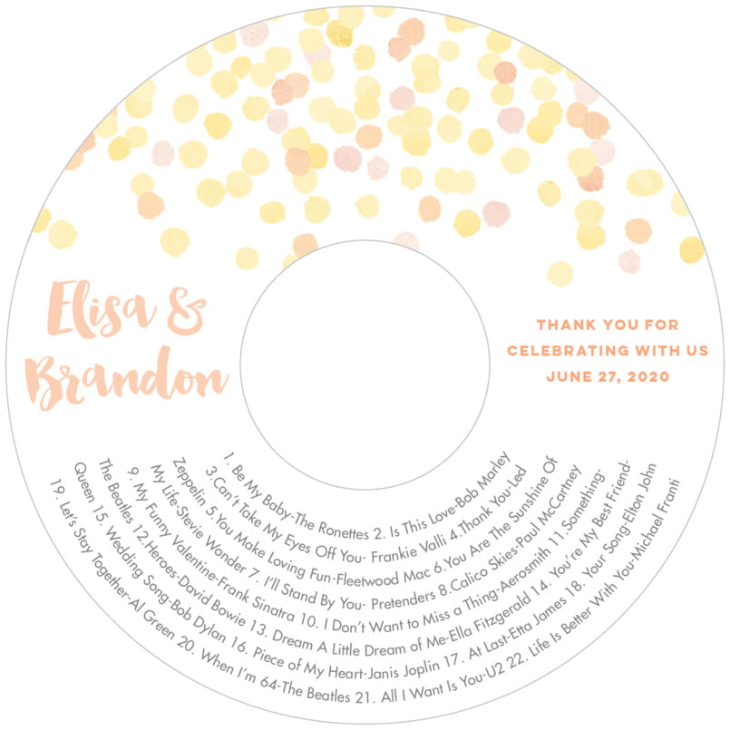 wedding cd/dvd labels - sunburst - watercolor confetti (set of 12)