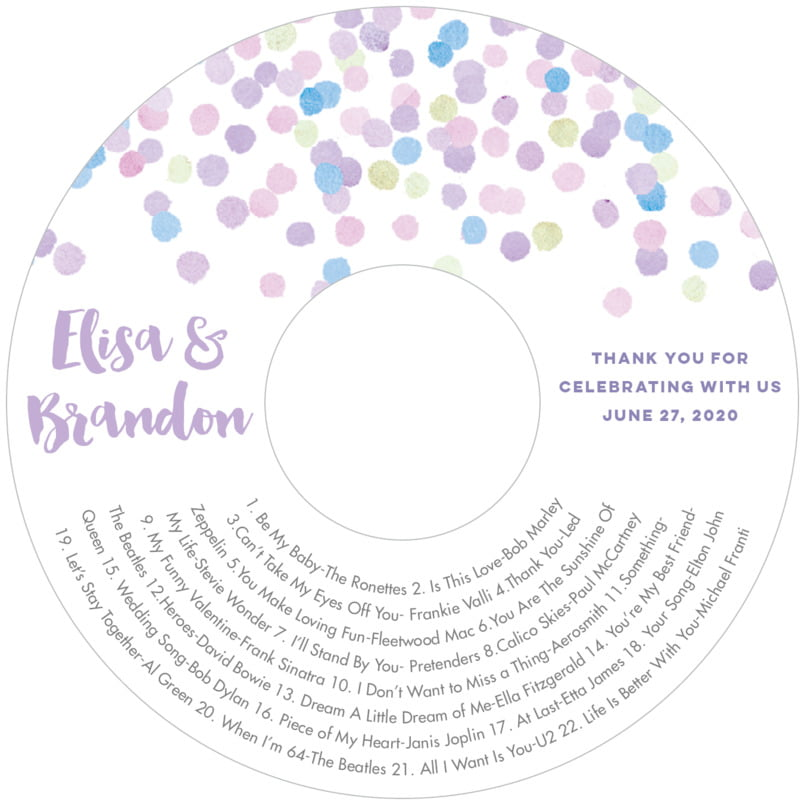 wedding cd/dvd labels - lilac - watercolor confetti (set of 12)