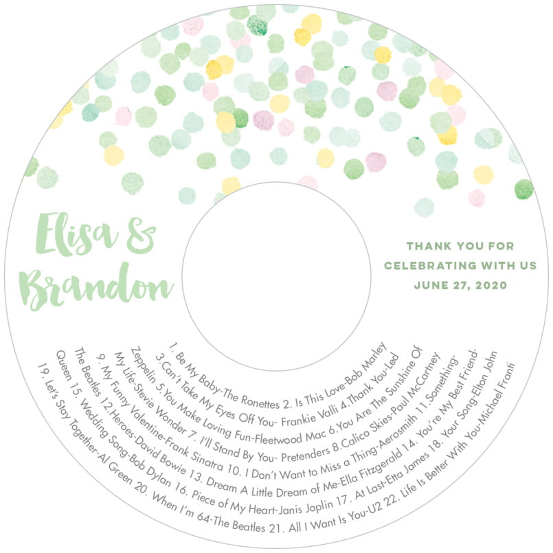 wedding cd/dvd labels - mint - watercolor confetti (set of 12)