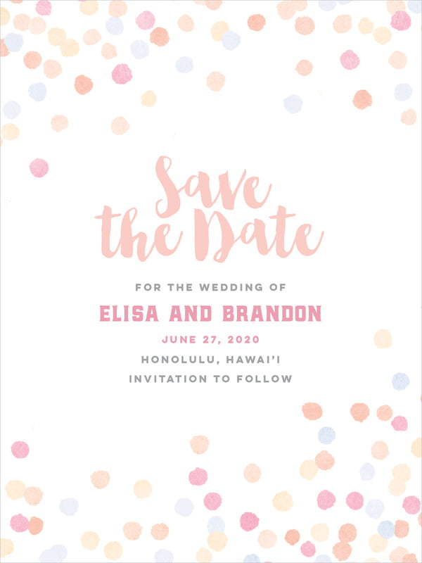 custom tall save the date cards - peach - watercolor confetti (set of 10)