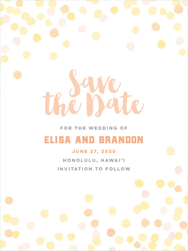 custom tall save the date cards - sunburst - watercolor confetti (set of 10)