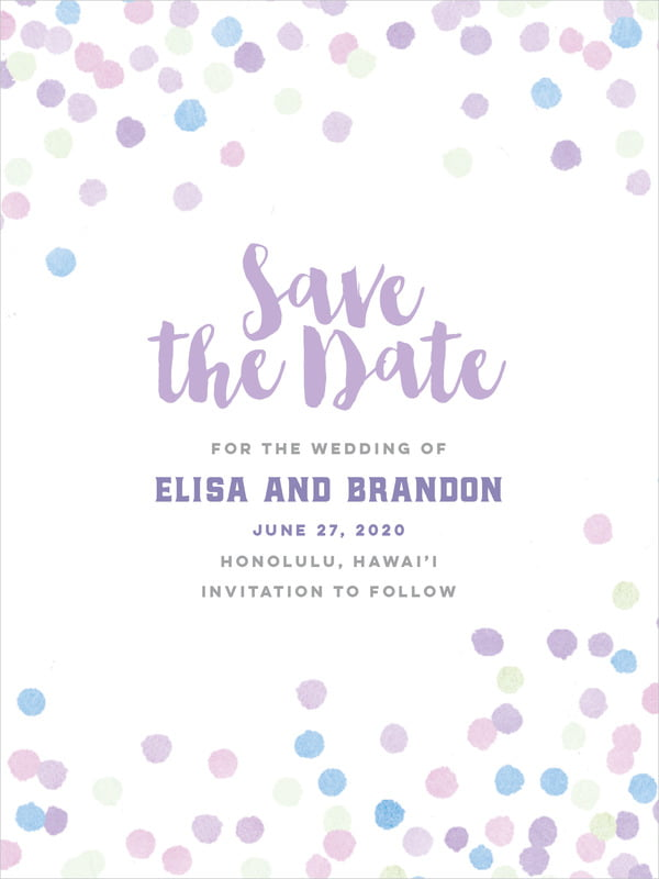 custom tall save the date cards - lilac - watercolor confetti (set of 10)