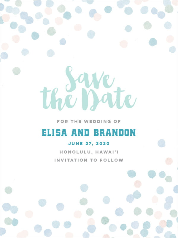 custom tall save the date cards - sea glass - watercolor confetti (set of 10)