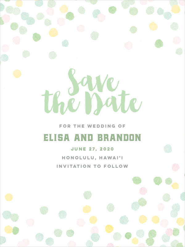 custom tall save the date cards - mint - watercolor confetti (set of 10)