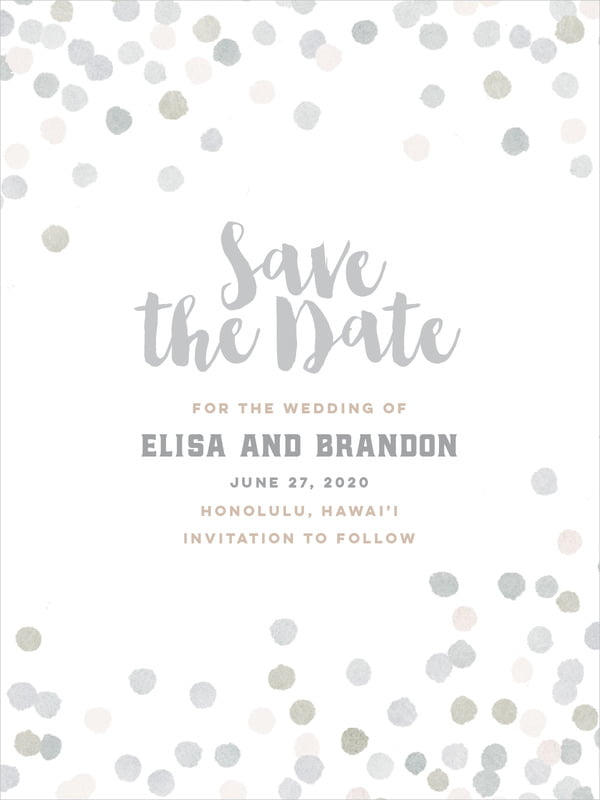 custom tall save the date cards - stone - watercolor confetti (set of 10)