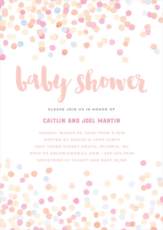 baby shower invitations - peach - watercolor confetti (set of 10)